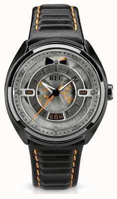 REC ポルシェオートマチックブラックレザーストラップグレーダイヤル p-901-03