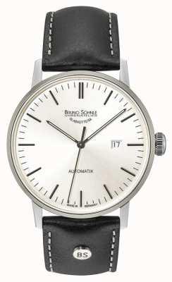 Bruno Sohnle シュツットガルトビッグオートマチック44ミリメートルシルバーダイヤルブラックレザーウォッチ 17-12173-247