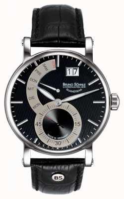 Bruno Sohnle Pesaro ii 43mmブラックレザーウォッチ 17-13073-781