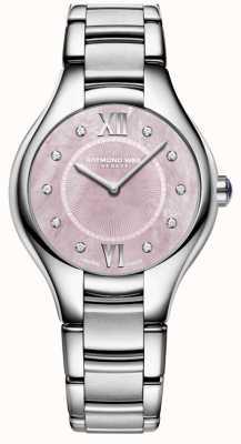 Raymond Weil 女性のnoemiaダイヤモンドクォーツ真珠の時計の母 5132-ST-00986