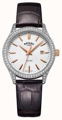 Rotary レディースオックスフォードレザーストラップステンレススチールクォーツ腕時計 LS05092/02