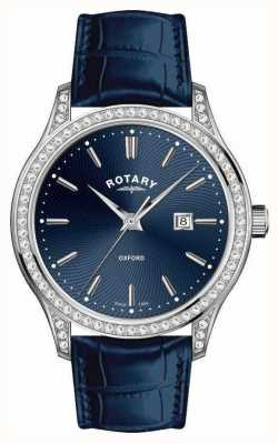 Rotary レディースオックスフォードレザーストラップブルークォーツ時計 LS05092/05