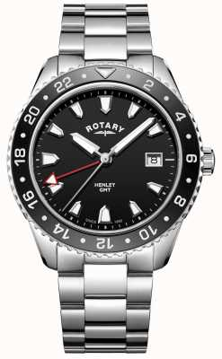 Rotary メンズヘンリーブラックステンレススチールクォーツ時計 GB05108/04