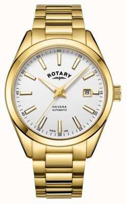 Rotary メンズハバナシルバーホワイトステンレススチール腕時計 GB05081/02