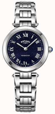 Rotary レディースケンジントンミッドナイトスカイスチールクォーツ時計 LB05190/67