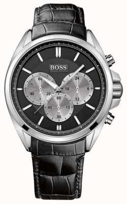 Hugo Boss メンズブラックレザークロノグラフウォッチ 1512879