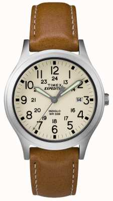 Timex Mens遠征のスカウトタン革の天然ダイヤルストラップ TW4B11000