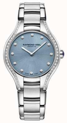 Raymond Weil 女性のnoemiaダイヤモンドステンレス鋼のブレスレットのブルーダイヤル 5132-STS-50081