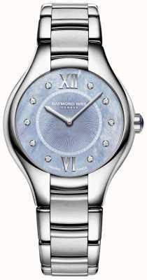 Raymond Weil 女性のnoemiaダイヤモンドステンレス鋼のブレスレットのブルーダイヤル 5132-ST-00955
