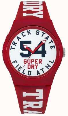 Superdry トラック状態プリントダイヤル白い顔の赤いストラップ SYG182WR