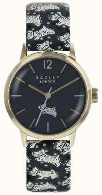 Radley 女性のフォーク犬ブラックダイヤル金pvdステンレススチールケース RY2570