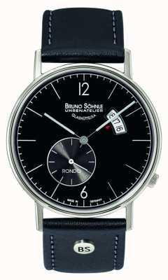 Bruno Sohnle Rondo大きい38mmのクォーツブラックダイヤルの日付と日付の表示 17-13053-761
