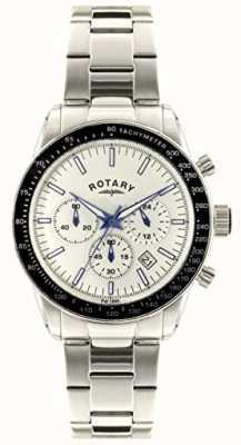Rotary メンズクロノグラフステンレススチールブレスレットホワイトダイヤル GB00470/01