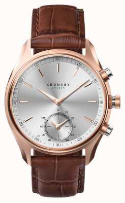 Kronaby 43mmセケル* gqブルートゥースのバラゴールド/レザースマートウォッチ A1000-2746