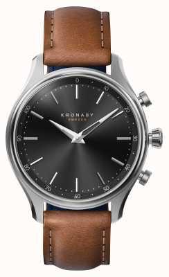 Kronaby 38mmセッケルブルースチールレザーストラップスマートウォッチ A1000-2749