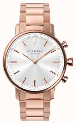 Kronaby 38ミリメートルカラットブルーは、ゴールドブレスレットシルバースマートウォッチをバラ A1000-2446