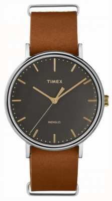 Timex フェアフィールド41mmブラウンレザーストラップクロムケース TW2P97900