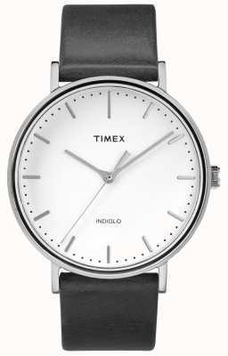 Timex フェアフィールド41mmブラックレザーストラップ/ホワイトダイヤル TW2R26300