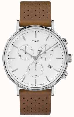 Timex フェアフィールドクロノブラウンレザーストラップ/ホワイトダイヤル TW2R26700