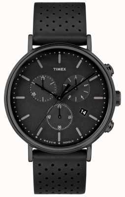 Timex フェアフィールドクロノブラックレザーストラップ/ブラックダイヤル TW2R26800