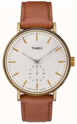 Timex フェアフィールドゴールドケースクリームダイヤルブラウンストラップ TW2R37900
