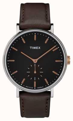 Timex フェアフィールドシルバートーンケースブラックダイヤル&ブラウンストラップ TW2R38100
