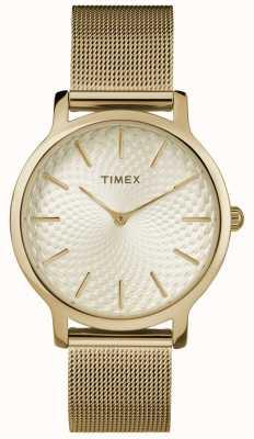 Timex 34ミリメートルゴールドメッシュブレスレット/ゴールドダイヤル TW2R36100