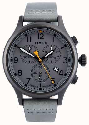 Timex アライドクロノグレーレザーストラップ/グレーダイヤル TW2R47400