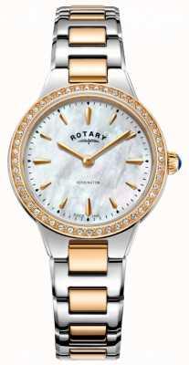 Rotary 女性のケンジントンローズゴールド2トーンストーンセット時計 LB05277/41