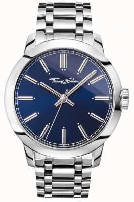 Thomas Sabo メンズ反逆の心時計腕時計ステンレススチールブレスレットブルーダイヤル WA0310-201-209-46