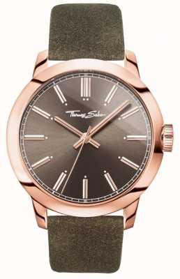 Thomas Sabo メンズレバール腕時計ブラウンレザーストラップブラウンダイヤル WA0314-266-205-46