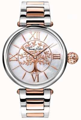 Thomas Sabo レディースグラムと魂のカルマの時計は、金と銀のバラ WA0315-272-213-38