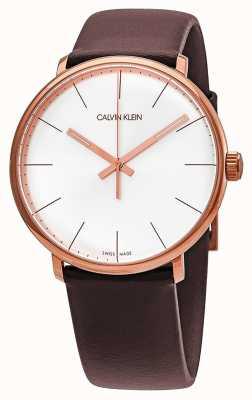 Calvin Klein メンズハイ・オウン・ローズ・ゴールド・ケース・ブラウン・レザーストラップ K8M216G6