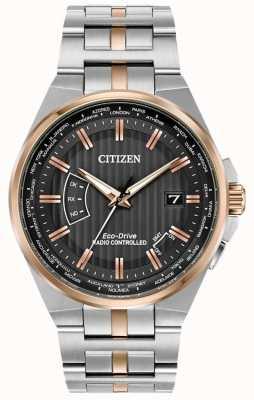 Citizen メンズワールドパーペチュアルステンレススチール&ローズゴールドIP CB0166-54H