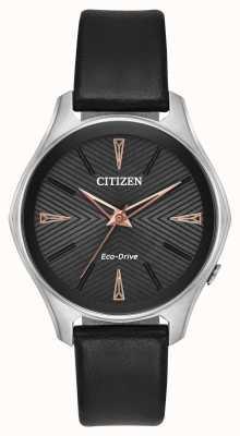 Citizen レディースブラックレザーmodenaエコドライブウォッチ EM0591-01E