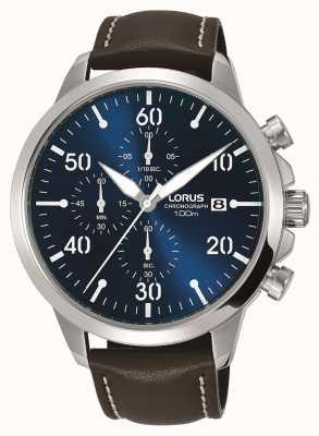 Lorus ブルーダイヤルメンズクロノグラフ腕時計ブラウンレザーストラップ RM353EX9