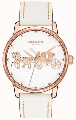 Coach レディースグランドホワイトレザーストラップローズゴールドケースホワイトダイヤル 14502973