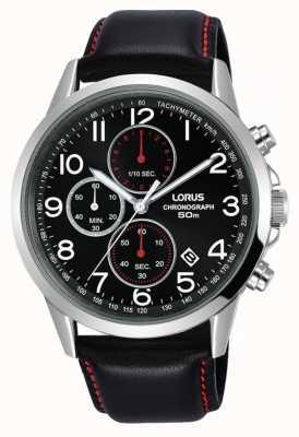 Lorus メンズクロノグラフ腕時計ブラックレザーストラップブラックダイヤル RM369EX8