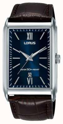 Lorus メンズ長方形腕時計ブラウンレザーストラップブルーダイヤル RH911JX9