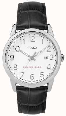 Timex 簡単なリーダーの署名と日付38ミリメートルレザーウォッチ TW2R64900