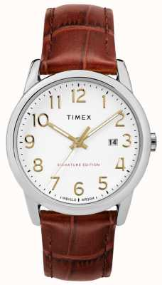 Timex 簡単なリーダーの署名と日付38ミリメートルレザーウォッチ TW2R65000