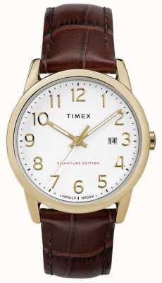 Timex 簡単なリーダーの署名と日付38ミリメートルレザーウォッチ TW2R65100