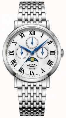 Rotary メンズウィンザームーンフェイズ腕時計シルバートーンブレスレット GB05325/01