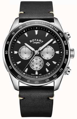 Rotary メンズヘンリーウォッチブラッククロノダイヤルブラックレザーストラップ GS05115/04