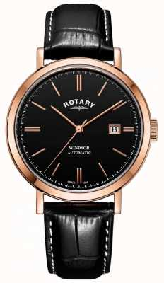 Rotary メンズウィンザー腕時計ゴールドトーンケースブラックダイヤルレザーストラップ GS05319/04