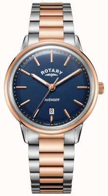 Rotary メンズアベンジャー腕時計2つのトーンブレスレットのブルーダイヤル GB05342/05