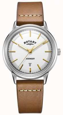 Rotary メンズアベンジャー腕時計シルバートーンケースタンレザーストラップ GS05340/02