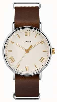 Timex メンズ41ミリメートルサウスビューブラウンレザーストラップクリームダイアル TW2R80400