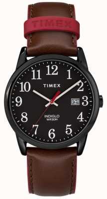 Timex メンズ38ミリメートルの簡単なリーダーの茶色の革ストラップブラックダイヤル TW2R62300