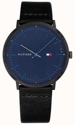 Tommy Hilfiger メンズジェームズブラックレザーストラップブルーダイヤル腕時計 1791462